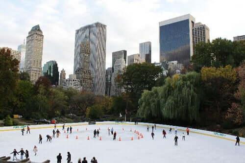 Central Park Ice Rink, na parte sul do parque, funciona apenas no inverno.