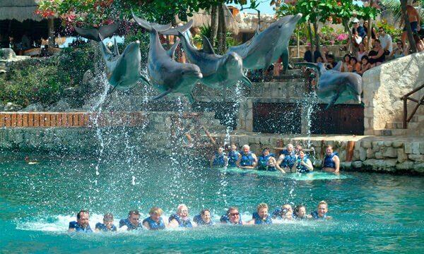 No Xcaret, turistas podem nadar com golfinhos.