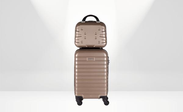 Conjunto de mala de viagem e frasqueira Lottus rosé, da Roncalli